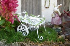 Miniature Fairy Garden Metal Flower Desert Tea Cart Cottage White with Cake and Mold Lace Mat Garland with Beads Supplies Accessories by fairyinthegarden1 on Etsy