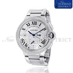 3.00ct Total Diamond Cartier Ballon Bleu Chronograph Steel W6920002 Watch #Cartier