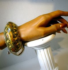 Wide Painted Wood n Brass Tribal Bangle by VintageStarrBeads