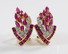 18K Yellow Gold 4.80ctw Ruby & Diamond Accented Omega Back Pierced Earrings #Cluster