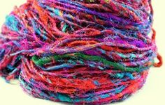 Fair Trade Premium Recycled Silk Sari Yarn. So many ideas of pretty things to make with this!