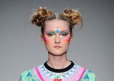 Manish Arora NY Fashion Week Fall Show The neon face paint perfectly complemented the collection, which included rainbow, cupcake and floral prints.