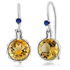 Amazon.com: 1.42 Ct Round Yellow Citrine Blue Simulated Sapphire 925 Sterling Silver Earrings: Jewelry