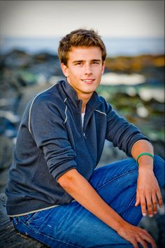 Yearbook Photos Boy Sitting on Rock At Ocean  | Patrick D., Cheverus High School