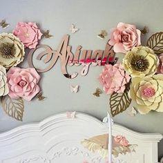 Gold Nursery, Nursery Name, Nursery Room, Baby Room, Nursery Letters Girl, Twin Room, Girl Room, Flower Letters, Small Letters