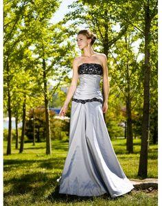 Taffeta Strapless Ruching Lace Trumpet Silver Prom / Evening Dress