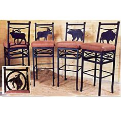 For the bar? Wilderness Bar Chairs by Frontier Ironworks at Rocky Mountain Decor. Mountain Cabin Decor, Rustic Cabin Decor, Western Decor, Mountain Living, Barndominium, Diy Interior, Interior Design, Southwest Style, Cabin Homes