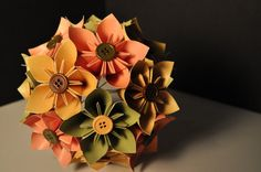 Orange Yellow Green with Colored Buttons Origami by PaperShell, $21.00