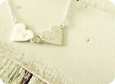 Sterling Silver Buttonsy Stamped Double Heart by ButtonsyJewellery Dandelion Necklace, Dog Tag Necklace, Stamp, Sterling Silver, Heart, Unique Jewelry, Handmade Gifts, Accessories, Etsy
