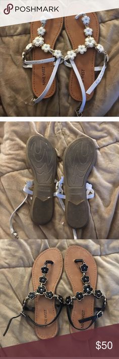 Bundle of 2 Nine West Sandals White sandals have been worn once and black are brand new. Get both or I can do separate listings if you want to purchase only one pair. Nine West Shoes Sandals