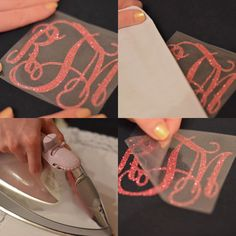 So cute AND inexpensive! Iron on glitter monograms!!