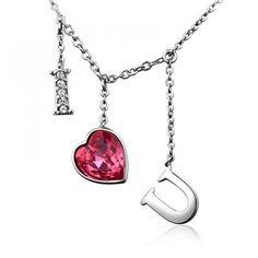 I Love U Necklace with SWAROVSKI ELEMENTS Design from Picsity.com