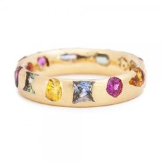 Unusual Sapphire and Gold Wedding or Eternity Ring by Polly Wales