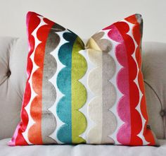 fun stripe that has all the colors, plus that silvery gray from the bedding