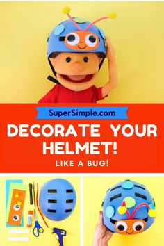You can decorate your bike helmet to look like a friendly bug! Simple Crafts, Easy Crafts For Kids, Summer Crafts, Beautiful Buildings, Tricycle, Preschool Crafts, Blouse Designs, Little Ones, Activities For Kids