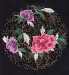 """I ❤ embroidery . . . Chinese embroidery. Flowers are Chinese knots, leaves satin stitch & background couched gold thread to represent """"cloisonne"""". ~By Lynette  Hale"""
