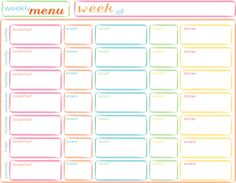 Weekly Menu Free Printable