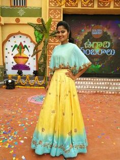 One of Regal Armoire lovely Muses Heroin/Actress/Entrepreneur in one of Recent Masterpieces Spotted in Ice blue Cape-croptop and Frozen pale yellow Lehenga .for Orders/Queries/Quotations call or watsapp : 21 March 2018 Indian Attire, Indian Wear, Indian Outfits, Yellow Lehenga, Cape Lehenga, Anarkali, Lengha Blouse Designs, Choli Designs, Lehenga Modern