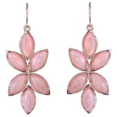 Irene Neuwirth Pink Opal Marquise Earrings - Rose Gold (4 772 435 LBP) ❤ liked on Polyvore featuring jewelry, earrings, rose, 18 karat gold earrings, leaf earrings, long earrings, rose gold jewelry and handcrafted earrings