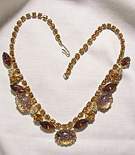 Happy New Year Many items sale priced with 20 to 60% off Visit my Plaza shop open till 12/31 30%off storewide Fabulous Rare Juliana Style All Rhinestone Topaz citrine lemon purple Amber confetti large stone Necklace