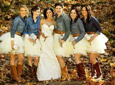 Country rustic wedding bridesmaids cowboy boots