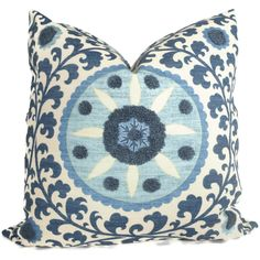 Blue Tufted Tribal Suzani Decorative Pillow Cover 18x18, 20x20 or 22x22 inch. $59.00, via Etsy.