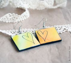 Hand drawn Heart double-faced earrings - Watercolor jewelry. Variegated, color, vintage, lace, yellow, orange, juicy, cute. Gift under 15. $15.00, via Etsy.