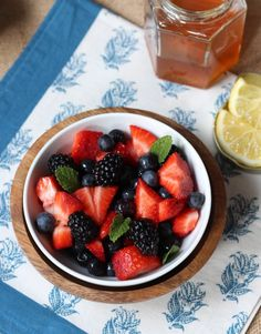 Triple Berry Salad ~  Fresh berries mixed together with a sweet citrus flavor!