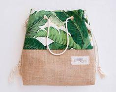 Palm Druck Sackleinen Strandtasche Sandsack in grüne Banane Blatt Jute