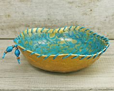 Papier mache bowl eco friendly jewellery trinket holder turquoise and gold on Etsy, $32.00 AUD