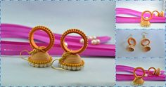 Ring with Jhumka traditional earring... #QuillingDesign #Quilling #Ring #Jhumka #Golden #Orange #Moti #GoldenChain #PQP #Traditional How are these earrings?