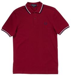 Get ready to tighten up to some northern soul in this dark red polo from Fred Perry. The features the classic styling of Fred Perry's signature polo, with a trimmer fit and slightly smaller collar. This polo is embroidered with a carbon blue laurel Twin Tips, Laurel Wreath, Northern Soul, Fred Perry, Dark Red, Polo Shirt, Blue And White, Stripes, Guys