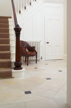 A perfect victorian hallway floor with cabochans and borders - aged cream with an aged belgian blue cabochan and a border Hall Flooring, Stone Flooring, Belgian Blue, Victorian Hallway, Painted Staircases, Entrance Halls, Build Your Own House, Furniture Factory, Door Sets