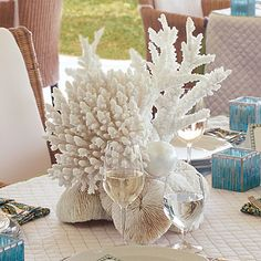 White coral wedding centrepieces