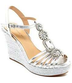 Antonio Melani Ritah Jeweled T-Strap Wedges
