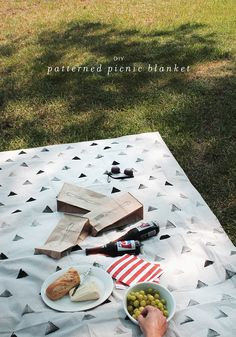 DIY patterned picnic blanket (canvas drop cloth, potato stamping, and acrylic paint)