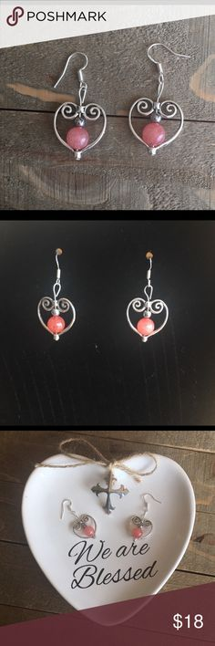 Antique Silver Heart Gemstone Earrings I designed and made these silver heart and swirl earrings with natural chili pink Jade and Hematite. Ear wires are sterling silver and the silver hearts are alloy, nickel and lead free.   These beautiful gemstones have several healing properties that are listed in the photos above.  Please Note: The use of gemstones is not meant as a substitute for medical or psychological diagnosis and treatment  Always made with love, light and positive energy…