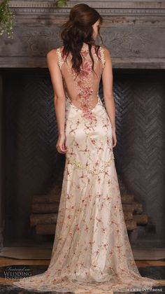 claire pettibone fall 2017 bridal sleeveless strap sweetheart neckline redfloral embroidered full embellishment vintage ivory color a  line wedding dress low back sweep train (maple) bv