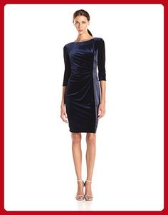 Vince Camuto Women's Elbow Sleeve Velvet Sheath Dress, Navy, 10 - All about women (*Amazon Partner-Link)