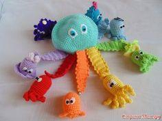 """Octopussy"" - based on the cartoon Crochet Baby Toys, Crochet Gifts, Crochet Yarn, Amigurumi Patterns, Crochet Patterns, Crochet Octopus, Montessori Toys, Crochet Projects, Knitting"