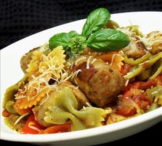 Italian Turkey Sausage and Peppers With Bow Tie Pasta from Food.com:   I just threw this together one night with ingredients I had on hand. We loved the flavor and it's now a favorite after work meal.