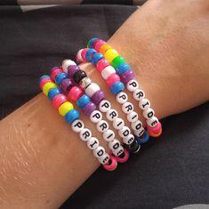 Pride Kandi singles Source by etsy Pony Bead Bracelets, Cute Friendship Bracelets, Kandi Bracelets, Bracelet Crafts, Cute Bracelets, Pony Beads, Friendship Bracelet Patterns, Jewelry Crafts, Summer Bracelets