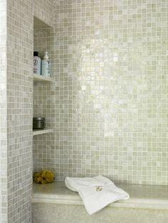 Niche hidden in shower wall next to seat. master bath shower