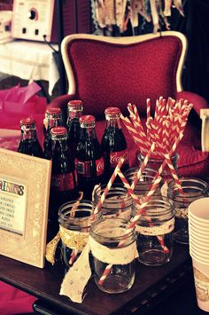 vintage party drink display - mason jars for drinks with the swirled straws