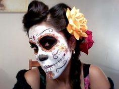 Day of the dead sugar skull makeup tutorial. Dia de Los Muertos.