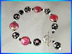black and pink glass beads