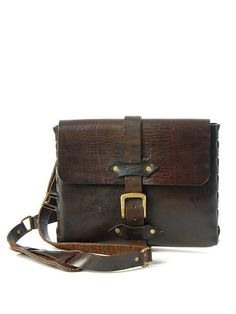 Sandast - Theo Notebook Leather Messenger Bag (coffee) | VAULT