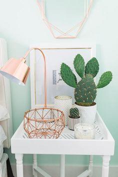 Bedside table decor — love the cactus! Cute Room Ideas, Cute Room Decor, Wall Decor, Pastel Room Decor, Mint Decor, Bedside Table Decor, Nightstand Lamp, Bedside Tables, Copper Bedside Lamp