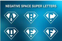 #Superman #letters - negative space by stockimagefolio on Creative Market