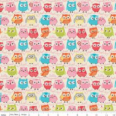 Owl Woodland Tree Party Owls on Cream Cotton Fabric by Kelly